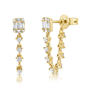 14k Gold & Diamond Stud Chain Earrings