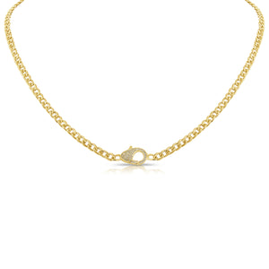 14k Gold & Diamond Paperclip Link Necklace