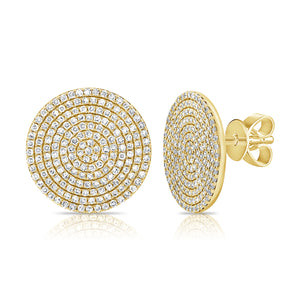 14k Gold & Diamond Disc Stud Earrings