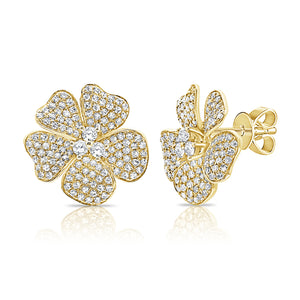 14k Gold & Diamond Flower Earrings