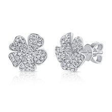 Load image into Gallery viewer, 14k Gold & Diamond Flower Earrings