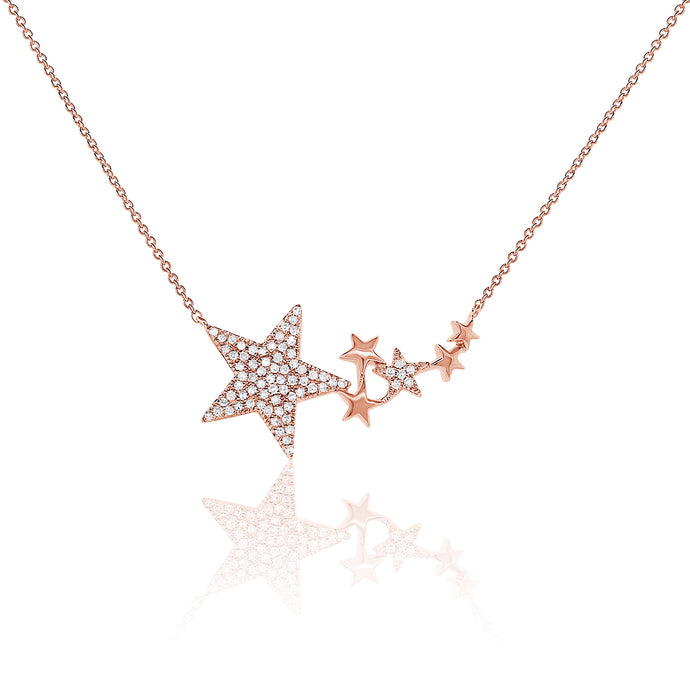 Sabrina Designs 14k Rose Gold Pave Diamond Star Necklace