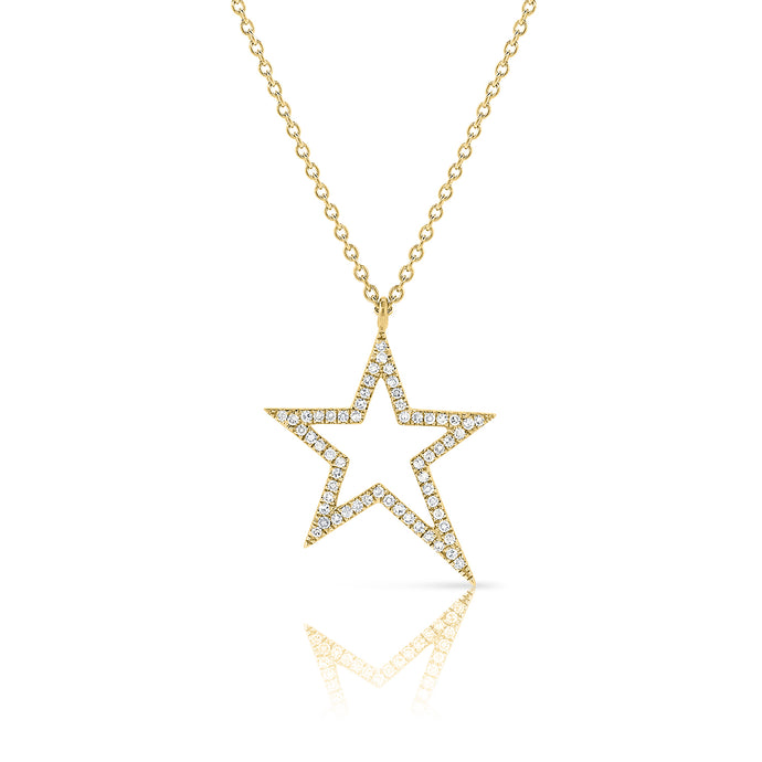 Sabrina Designs 14K Yellow Gold Pave Diamond Open Star Necklace