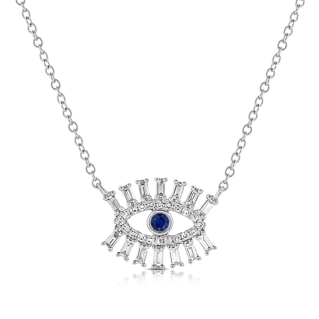 14k Gold & Diamond Evil Eye Necklace