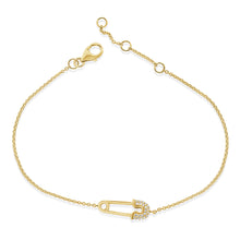 Load image into Gallery viewer, 14k Gold & Diamond Safety Pin Bracelet