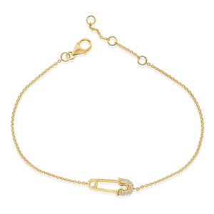 14k Gold & Diamond Safety Pin Bracelet