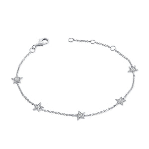 14k Gold & Diamond Star Station Bracelet