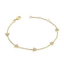 Load image into Gallery viewer, 14k Gold & Diamond Star Station Bracelet