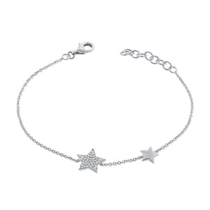 14k Gold & Diamond Star Bracelet