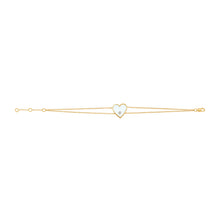 Load image into Gallery viewer, 14k Gold & Diamond White Heart Bracelet
