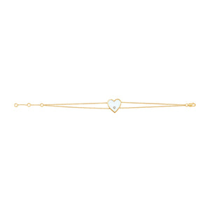 14k Gold & Diamond White Heart Bracelet