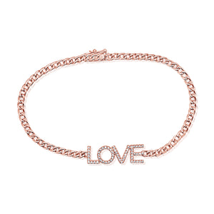14k Gold & Diamond Love Link Bracelet
