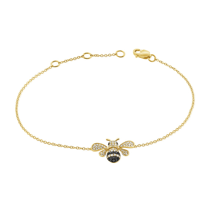 14k Gold & Black Diamond Bumble Bee Bracelet