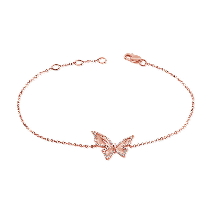 14k Gold & Diamond Butterfly Bracelet