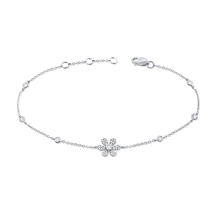 14k Gold & Diamond Flower Bracelet