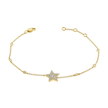 Load image into Gallery viewer, 14k Gold & Diamond Star Bracelet