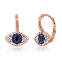 Load image into Gallery viewer, Sabrina Designs 14K Rose Gold Diamond, Sapphire and Lapis Evil Eye Earrings