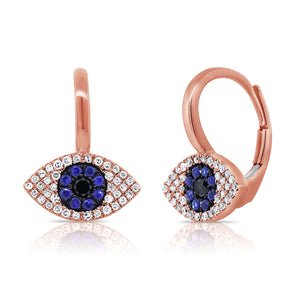 Sabrina Designs 14K Rose Gold Diamond, Sapphire and Lapis Evil Eye Earrings