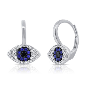 Sabrina Designs 14K White Gold Diamond, Sapphire and Lapis Evil Eye Earrings