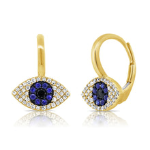 Load image into Gallery viewer, Sabrina Designs 14K Yellow Gold Diamond, Sapphire and Lapis Evil Eye Earrings