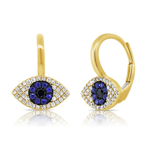 Sabrina Designs 14K Yellow Gold Diamond, Sapphire and Lapis Evil Eye Earrings