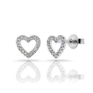 Sabrina Designs 14k White Gold Diamond Open Heart Earrings