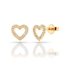 Load image into Gallery viewer, Sabrina Designs 14k Yellow Gold Diamond Open Heart Earrings