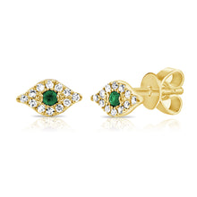 Load image into Gallery viewer, 14k Gold & Diamond Evil Eye Stud Earrings