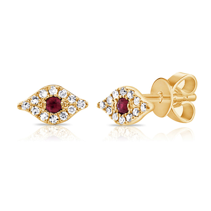 14k Gold & Diamond Ruby Evil Eye Studs