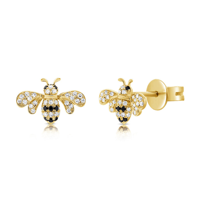14k Gold & Black Diamond Bumble Bee Stud Earrings