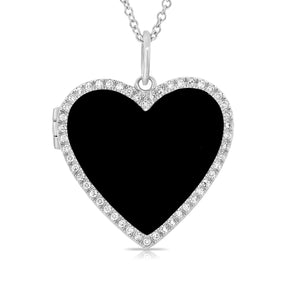 14k Gold & Diamond Heart Necklace Locket