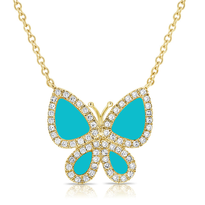 Sabrina Designs 14k Yellow Gold Diamond & Turquoise Butterfly Necklace