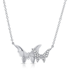 Load image into Gallery viewer, 14k Gold & Diamond Butterfly Necklace