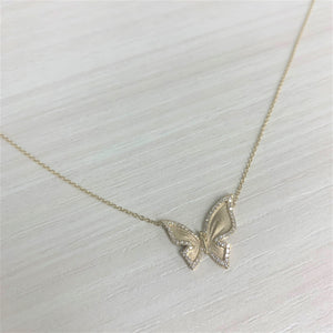 14k Gold & Diamond Butterfly Necklace