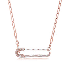 Load image into Gallery viewer, 14k Gold & Diamond Safety Pin Necklace