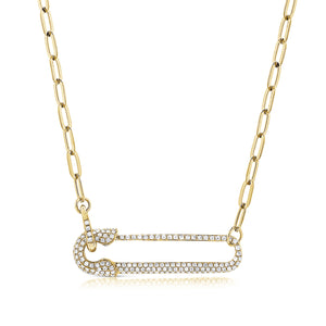 14k Gold & Diamond Safety Pin Necklace