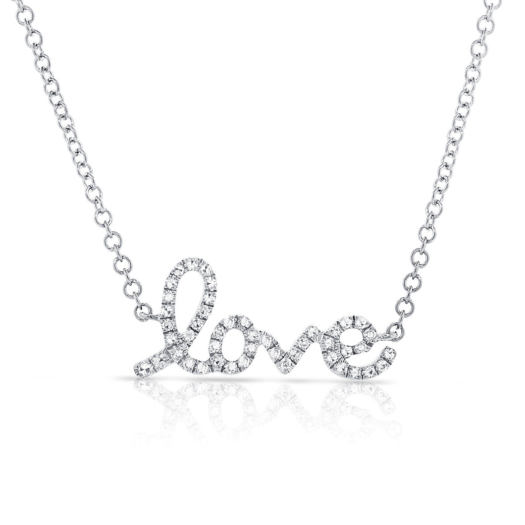 Sabrina Designs 14k White Gold Diamond Love Necklace