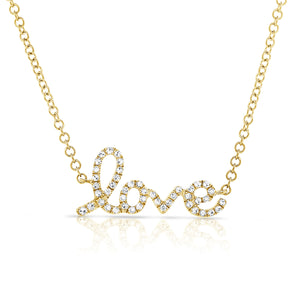 Sabrina Designs 14k Yellow Gold Diamond Love Necklace
