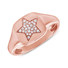 Load image into Gallery viewer, Sabrina Designs 14k Rose Gold Pave Diamond Star Signet Ring