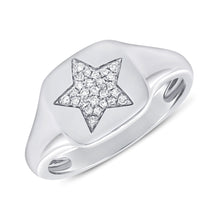 Load image into Gallery viewer, Sabrina Designs 14k White Gold Pave Diamond Star Signet Ring