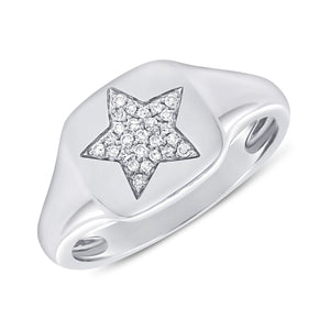 Sabrina Designs 14k White Gold Pave Diamond Star Signet Ring