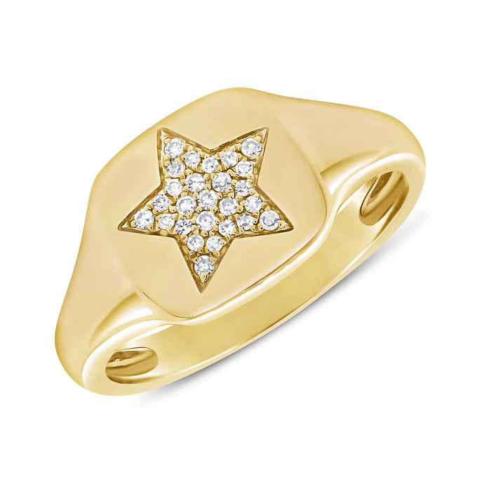 Sabrina Designs 14k Yellow Gold Pave Diamond Star Signet Ring