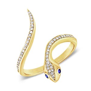 14k Gold & Diamond Snake Ring