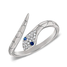 Load image into Gallery viewer, Sabrina Designs 14k White Gold Diamond & Blue Sapphire Snake Ring