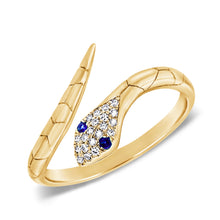 Load image into Gallery viewer, Sabrina Designs 14k Yellow Gold Diamond & Blue Sapphire Snake Ring