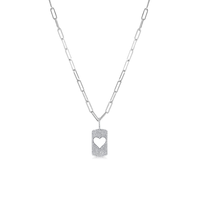 Sabrina Designs 14k White Gold Diamond Heart Tag Link Necklace