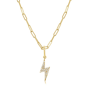 14k Gold & Diamond Lightning Bolt Charm