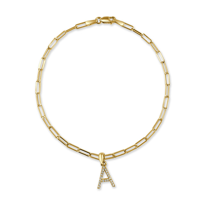 14k Yellow Gold & Diamond Initial Link Bracelet