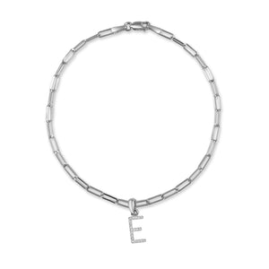 14k White Gold & Diamond Initial Link Bracelet