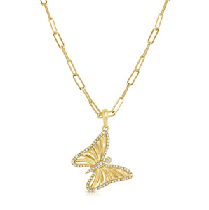 14k Gold & Diamond Butterfly Charm